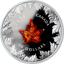 Stříbrná mince 5 Oz Murano Maple Leaf Autumn Radiance 2016 Proof (.9999)