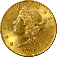 Zlatá mince American Double Eagle Liberty Head 1904