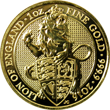 Zlatá investiční mince The Queen's Beasts The Lion 1 Oz 2016
