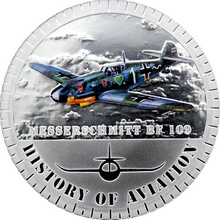 Stříbrná mince kolorovaný Messerschmitt BF109 History of Aviation 2014 Proof