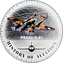 Stříbrná mince kolorovaný Praga E-51 History of Aviation 2015 Proof