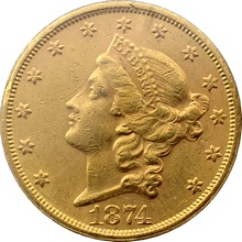 Zlatá mince American Double Eagle Liberty Head 1874
