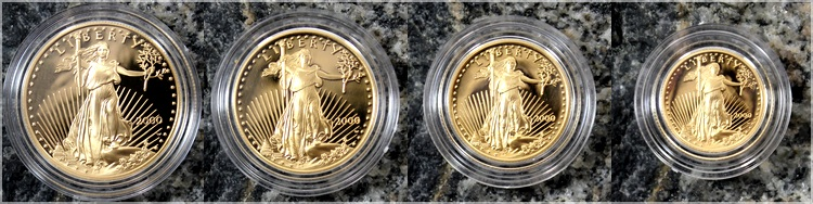 american gold eagle 2000 sada zlatych minci proof