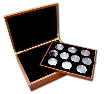Drevená krabička pre 10 x 2 Oz Ag mince série The Queen's Beasts