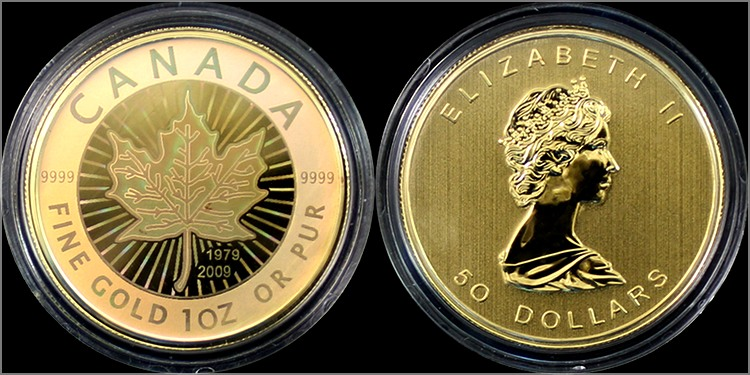 sada_zlatych_minci_maple_leaf_2009_hologram_proof_1oz