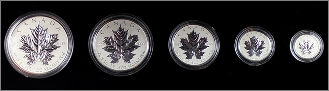 sada_stribrnych_minci_Maple_Leaf_25_vyroci_2013_proof