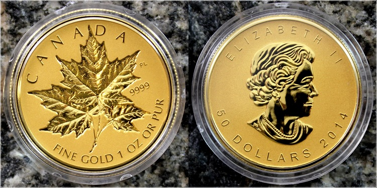 sada_zlatych_minci_maple_leaf_2014_incuse_proof_1oz