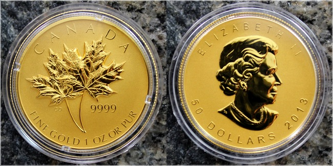 sada_zlatych_minci_Maple_Leaf_25_vyroci_2013_1oz_high_relief_proof