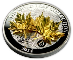 stribrna_mince_3d_maple_leaves_gold_leaf_collection_2014_proof_closeup