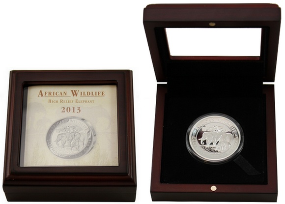 stribrna_mince_slon_africky_high_relief_1oz_2013_proof