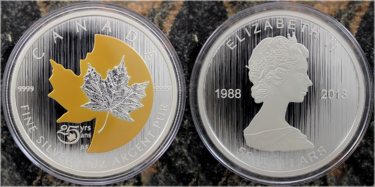 stribrna_pozlacena_mince_5oz_25_vyroci_maple_leaf_2013
