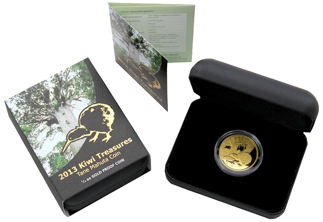 zlata_mince_kiwi_treasures_tane_mahuta_1,4oz_2013_proof